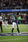 Philadelphia Eagles defensive back Corey Graham (24) celebrates after a fourth quarter strip sack fumble during the 2018 NFL Super Bowl LII football game against the New England Patriots on Sunday, Feb. 4, 2018 in Minneapolis. The Eagles won the game 41-33. (©Paul Anthony Spinelli)
