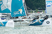 Oman Air. Day two of the Extreme Sailing Series regatta being sailed in Singapore. 21/2/2014