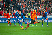 Nicky Clark (#10) of Dundee United FC scores a penalty to level the score during the William Hill Scottish Cup quarter final match between Dundee United and Inverness CT at Tannadice Park, Dundee, Scotland on 3 March 2019.