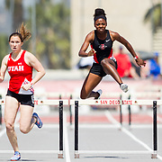 23 March 2018:  Jasmine Young competes in the 400 meter hurdles open event Friday afternoon at the 40th Annual Aztec Invitational<br /> More game action at sdsuaztecphotos.com