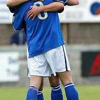 Montrose v St Johnstone....10.07.04<br />David Hannah congratulates Ryan Stevenson on his goal<br /><br />Picture by Graeme Hart.<br />Copyright Perthshire Picture Agency<br />Tel: 01738 623350  Mobile: 07990 594431