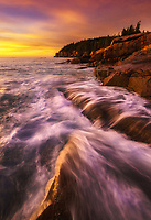 Beautiful sunrise along the rugge Atlantic coast of Acadia National Park, ME USA