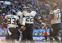 American Football - 2018 NFL Season (NFL International Series, London Games) - Tennessee Titans vs. Los Angeles Chargers<br /> <br /> Derrick Henry of the Titans celebrates his touch down, at Wembley Stadium.<br /> <br /> COLORSPORT/ANDREW COWIE