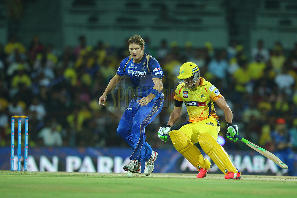 Shane Watson of the Rajasthan Royals chases after the ball to run out Faf Du Plessis of the Chennai Superkings  during match 47 of the Pepsi IPL 2015 (Indian Premier League) between The Chennai Superkings and The Rajasthan Royals held at the M. A. Chidambaram Stadium, Chennai Stadium in Chennai, India on the 10th May 2015.<br /> <br /> Photo by:  Ron Gaunt / SPORTZPICS / IPL