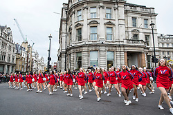 © Licensed to London News Pictures. 01/01/2018. London, UK. Cheerleaders performing at the New Year's Day Parade in Central London. Photo credit: Rob Pinney/LNP