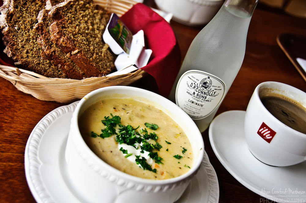 A lovely lunch of Seafood Chowder, Irish soda-bread, lemonade and coffee