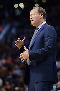 Jan 23, 2016; Phoenix, AZ, USA; Atlanta Hawks head coach Mike Budenholzer coaches from the sidelines in the second half at Talking Stick Resort Arena. The Suns won 98-95. Mandatory Credit: Jennifer Stewart-USA TODAY Sports