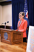 30 JULY 2020 - DES MOINES, IOWA: KIM REYNOLDS, the Governor of Iowa, talks about the state's coronavirus response and public education during a press conference at the State Capitol in Des Moines. Gov. Reynolds stressed the importance of in person education but laid out the guidelines under which Iowa would allow on line instruction. She said that Iowa schools would have to see a coronavirus (SARS-CoV-2) positivity rate of at least 15% in the county where they are located before they could request to transition a school building or district to fully online learning. Many Iowa teachers and students object to the Governor's insistence on in person education, saying it is to dangerous and the risk of COVID-19 infection too high to force schools to reopen.       PHOTO BY JACK KURTZ