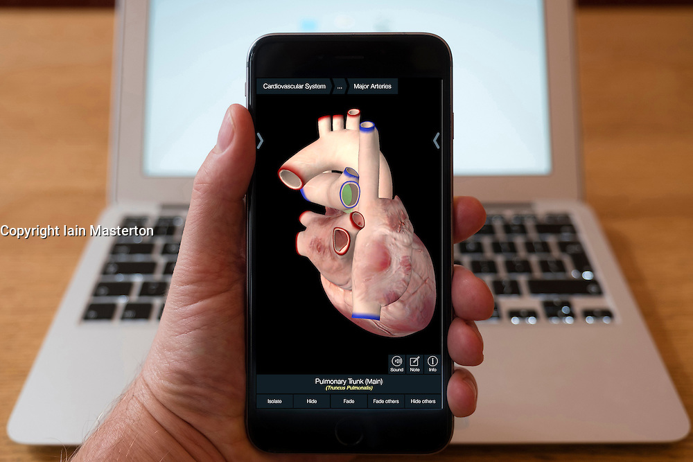 Using iPhone smartphone to display 3D image of human heart  from anatomy educational app