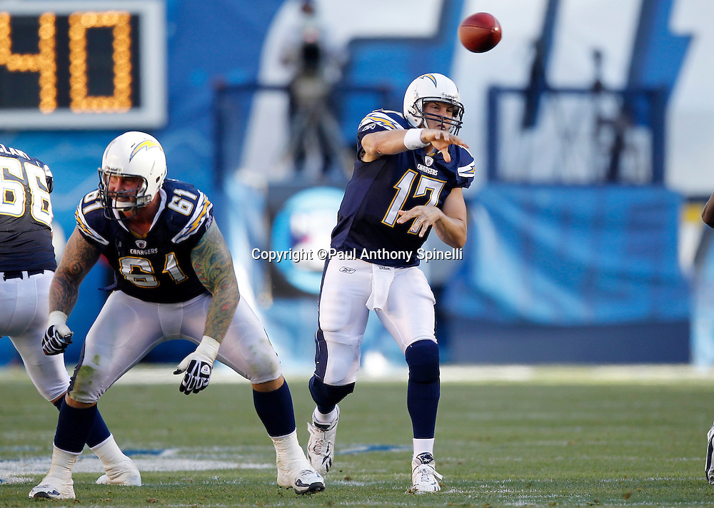 San Diego Chargers quarterback Philip Rivers (17) throws a pass during the NFL week 14 football game against the Kansas City Chiefs on Sunday, December 12, 2010 in San Diego, California. The Chargers won the game 31-0. (©Paul Anthony Spinelli)