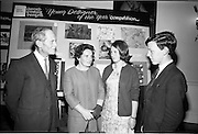 "28/06/1967<br /> 06/28/1967<br /> 28 June 1967<br /> Presentation of prizes at Navan Carpets ""Young Designer of the Year"" reception in the Royal Hibernian Hotel, Dublin. Image shows (l-r): Mr. B.V. Fox, Navan Carpets Ltd.; Mrs Dunne; Miss May Dunne and Mr. Jim Dunne, (prize-winner) Navan Co. Meath."