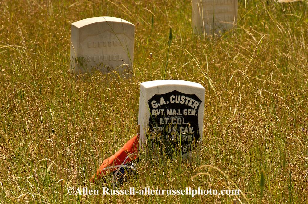 Little Bighorn Battlefield National Monument, Montana, Last Stand Hill, Custer marker
