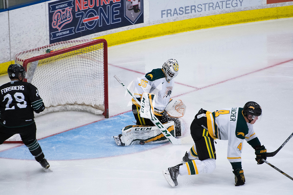 1st year goalie Michael Herringer(35) of the Regina Cougars in action during the Men's Hockey Home Opener on October 6 at Co-operators arena. Credit: Arthur Ward/Arthur Images