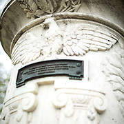 The Cuban Friendship Urn in East Potomac Park in Washington DC. It commemorates the sinking of the USS Maine in 1898 and was presented by the Cuban government to President Calvin Coolidge in 1928. This shot shows the urn eagle and inscription on the front.