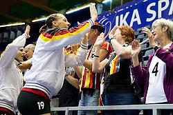 25.09.2011, Hala Pionir, Belgrad, SRB, Europameisterschaft Volleyball Frauen, Vorrunde Pool A, Deutschland (GER) vs. Frankreich (FRA), im Bild Regina Burchardt (#19 GER / Wiesbaden GER) bedankt sich nach dem Sieg bei den Fans // during the 2011 CEV European Championship, First round at Hala Pionir, Belgrade, SRB, Germany vs France, 2011-09-25. EXPA Pictures © 2011, PhotoCredit: EXPA/ nph/  Kurth       ****** out of GER / CRO  / BEL ******