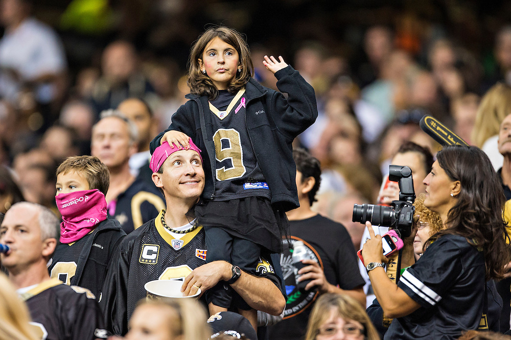 NEW ORLEANS, LA - OCTOBER 27:  Fans of the New Orleans Saints during a game against the Buffalo Bills at Mercedes-Benz Superdome on October 27, 2013 in New Orleans, Louisiana.  The Saints defeated the Bills 35-14.  (Photo by Wesley Hitt/Getty Images) *** Local Caption ***