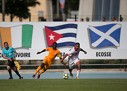 AUBAGNE, FRANCE - Tuesday, May 30, 2017: Ivory Coast's Jordan Kouassi against Bahrain's Alawi Mohsen Sayed Ebrahim during the Toulon Tournament Group B match between Bahrain and Ivory Coast at the Stade de Lattre-de-Tassigny. (Pic by Laura Malkin/Propaganda)