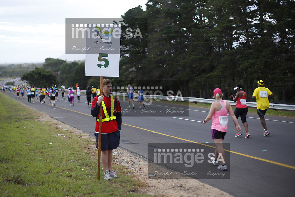 CAPE TOWN, South Africa - Saturday 30 March 2013, 5 marker during the half marathon of the Old Mutual Two Oceans Marathon. .Photo by Nick Muzik/ ImageSA