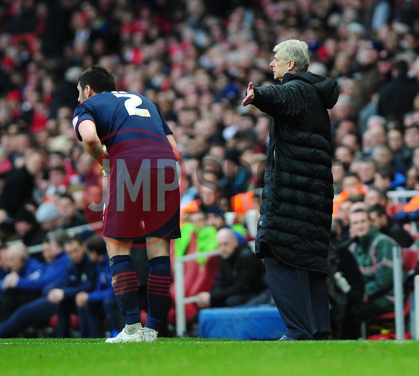 Arsenal Manger, Arsene Wenger complains about Blackburn Rovers' Bradley Orr time wasting - Photo mandatory by-line: Dougie Allward/JMP - Tel: Mobile: 07966 386802 16/02/2013 - SPORT - FOOTBALL - Emirates Stadium - London -  Arsenal V Blackburn Rovers - FA Cup - Fifth Round