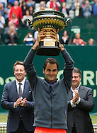 Roger Federer (SUI)  , <br /> Endspiel, Final, Siegerehrung,Pr&auml;sentation,<br /> <br /> Tennis - Gerry Weber Open - ATP 500 -  Gerry Weber Stadion - Halle / Westf. - Nordrhein Westfalen - Germany  - 21 June 2015. <br /> &copy; Juergen Hasenkopf