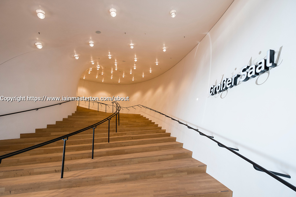 Elbphilharmonie, Hamburg, Germany; Interior staircase to concert hall at  new opera house in Hamburg, Germany.
