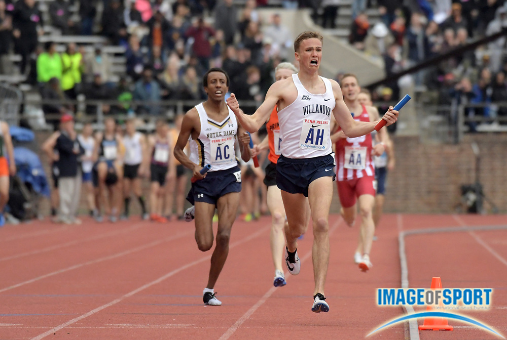 Apr 27, 2018; Philadelphia, PA, USA; Casey Comber celebrates after running the 1,600m  anchor leg on the Villanova distance medley relay that won the Championship of America race in 9:34.97 during the 124th Penn Relays at Franklin Field.