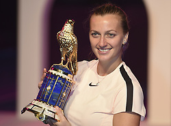 DOHA, Feb. 19, 2018  Petra Kvitova of Czech Republic poses with the trophy after winning the single's final match against Garbine Muguruza of Spain at the 2018 WTA Qatar Open in Doha, Qatar, on Feb. 18, 2018. Petra Kvitova won 2-1 to claim the title. (Credit Image: © Nikku/Xinhua via ZUMA Wire)