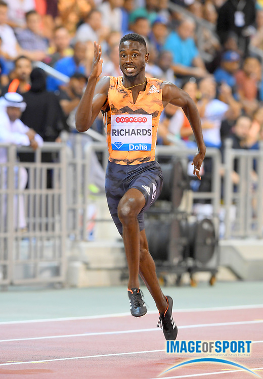 Jereem Richards (TTO) places second in the 200m in 19.99 in the 2018 IAAF Doha Diamond League meeting at Suhaim Bin Hamad Stadium in Doha, Qatar, Friday, May 4, 2018. (Jiro Mochizuki/Image of Sport)