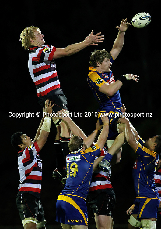 Otago flanker Adam Thomson tips a lineout ball away from Counties lock Jamie Chipman. ITM Cup Rugby, Counties Manukau v Otago, Bayer Growers Stadium, Pukekohe. Saturday 31st July 2010. Photo: Simon Watts/PHOTOSPORT