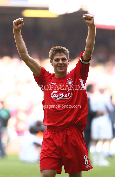 CARDIFF, WALES - SATURDAY, MAY 13th, 2006: Liverpool's Steven Gerrard celebrates winning the FA Cup after victory over West Ham United on penalties during the FA Cup Final against West Ham United at the Millennium Stadium. (Pic by David Rawcliffe/Propaganda)