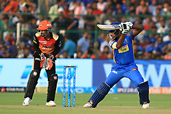April 29, 2018 - Jaipur, Rajasthan, India - Rajasthan Royals batsman Sanju Samson plays a shot during the IPL T20 match against Sunrisers  Hyderabad at Sawai Mansingh Stadium in Jaipur on 29th April,2018. (Credit Image: © Vishal Bhatnagar/NurPhoto via ZUMA Press)