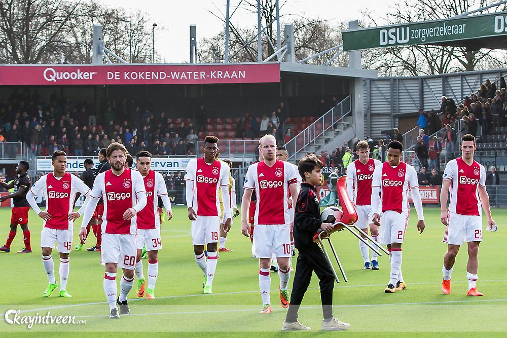 ROTTERDAM - Excelsior - Ajax , Voetbal , Seizoen 2016/2017 , Eredivisie , Stadion Woudestein , 19-03-2017 , eindstand 1-1 , Ajax spelers lopen teleurgesteld naar het uit vak