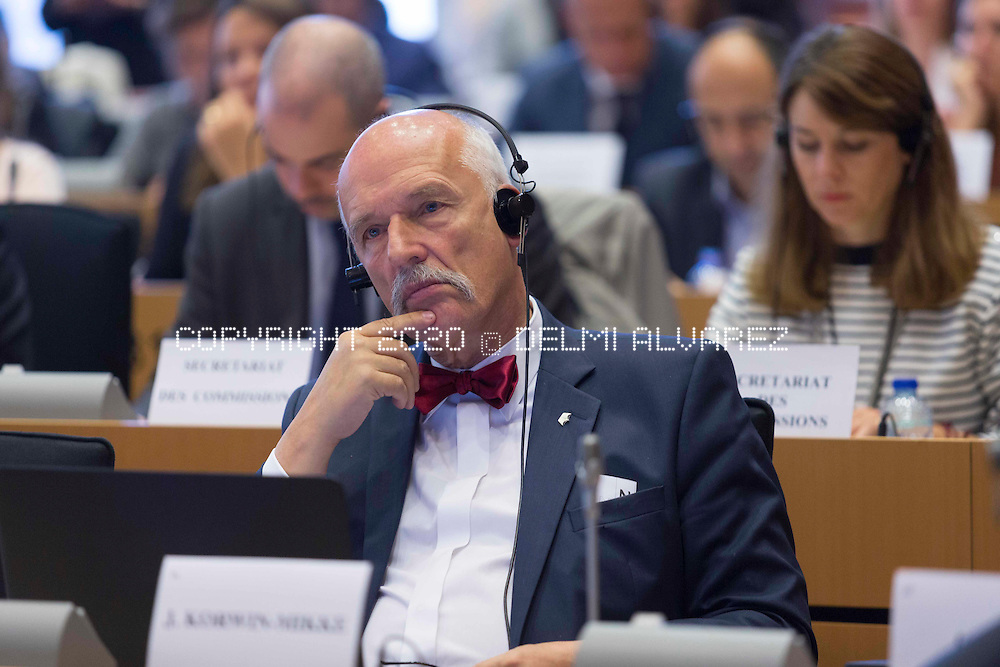 """Polish MEP, Janusz Ryszard Korwin-Mikke at the public hearing on """"Respecting human rights in the context of migration flows in the Mediterranean"""" hosted by The Foreign Affairs and Civil Liberties Committees and the Human Rights Subcommittee."""