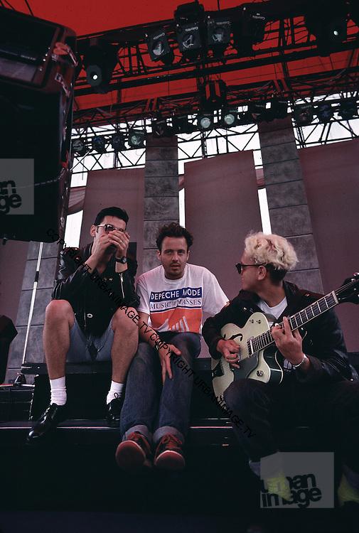 David Gahan and Martin Gore - Depeche Mode performing live at Pasadena Rose Bowl, June 1988.