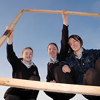 20/12/2005<br />Lisdoonvarna Community School students Lorraine Stringer, Shona Fitzpatrick and India Molloy, working on their Young Scientist of The Year Project, 'Anemones'.<br />Picture. Cathal Noonan/Press22.