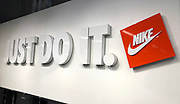 "General overall view of ""Just Do It"" sign at the Nike East Los Angeles community store in Los Angeles, Thursday, Sept. 5, 2018. Colin Kaepernick (not pictured) is featured in a Nike ad for the 30th anniversary of the Just Do it campaign."