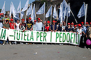 Rome 12 May 2007.People demonstraes during the 'Day of the Family' protest against a government plan to grant homosexual couples legal status, in front of the Basilica of Saint John Lateran in Rome   .the banner reads: less guardianship for the pedophiles