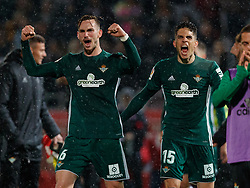 April 13, 2018 - Girona, Girona, Spain - Fabian Ruiz of Betis with Marc Bartra of Betis during the 2017/2018 LaLiga Santander Round 32 game between Girona and Real Betis at Estadi Montilivi on April 13, 2018 in Girona, Spain. (Credit Image: © Ukko Images/Pacific Press via ZUMA Wire)