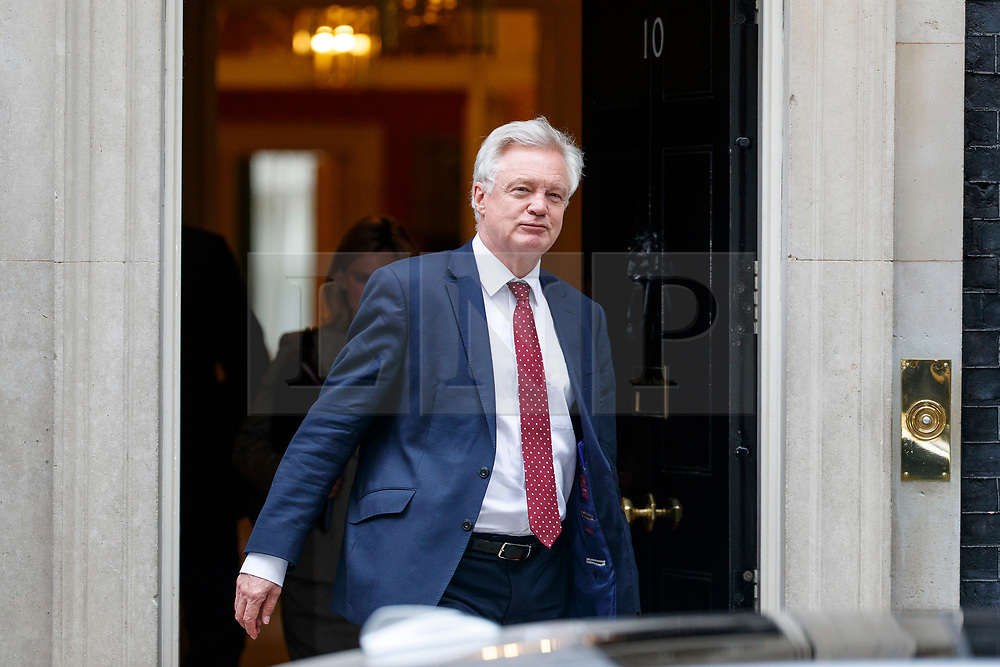 © Licensed to London News Pictures. 11/07/2017. London, UK. Secretary of State for Exiting the European Union DAVID DAVIS leaves after a cabinet meeting in Downing Street, London on Tuesday, 11 July 2017. Photo credit: Tolga Akmen/LNP