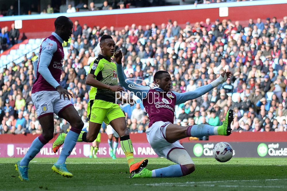 Aston Villa defender Alan Hutton (21) gets in a shot during the EFL Sky Bet Championship match between Aston Villa and Reading at Villa Park, Birmingham, England on 15 April 2017. Photo by Dennis Goodwin.