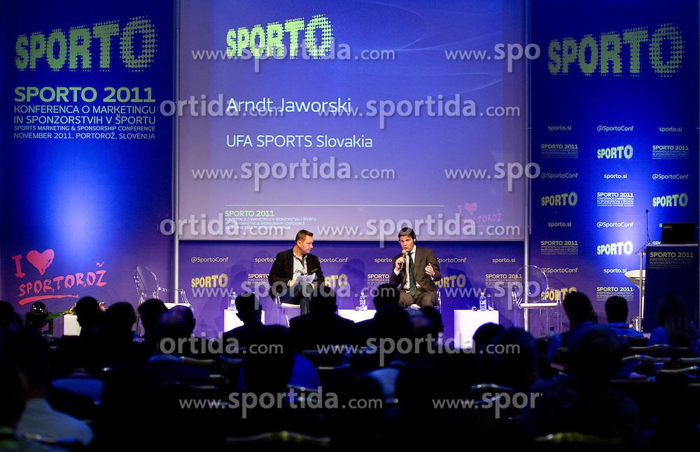 Tomaz Ambrozic od S.V. RSA and  Arndt Jaworski of UFA Sports during sports marketing conference Sporto 2011, on November 21, 2011 in Hotel Slovenija, Portoroz / Portorose, Slovenia. (Photo By Vid Ponikvar / Sportida.com)