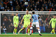 Dinamo Zagreb forward Bruno Petkovic (21) and Manchester City defender Nicolas Otamendi (30) keep their eyes on the ball during the Champions League match between Manchester City and Dinamo Zagreb at the Etihad Stadium, Manchester, England on 1 October 2019.
