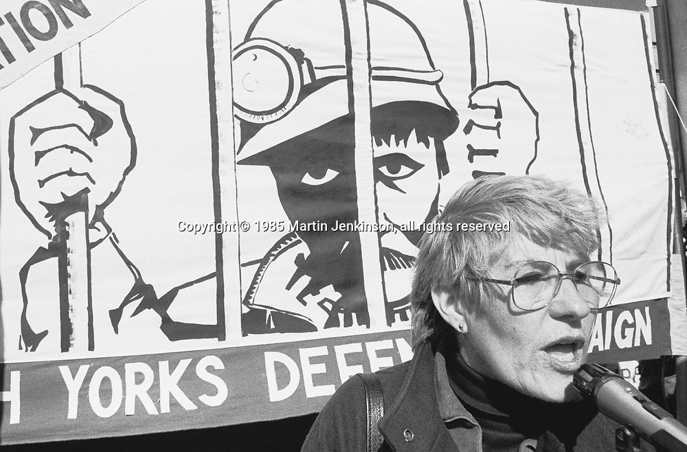 Betty Heathfield speaking at a Miners Defence Rally in Sheffield. 30-03-1985..© Martin Jenkinson, tel 0114 258 6808 mobile 07831 189363 email martin@pressphotos.co.uk. Copyright Designs & Patents Act 1988, moral rights asserted credit required. No part of this photo to be stored, reproduced, manipulated or transmitted to third parties by any means without prior written permission