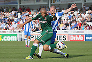 Picture by Paul  Gaythorpe/Focus Images Ltd +447771 871632.08/09/2012.Paul Murray of Hartlepool United and Danny Cademarteri of Carlisle United during the npower League 1 match at Victoria Park, Hartlepool.