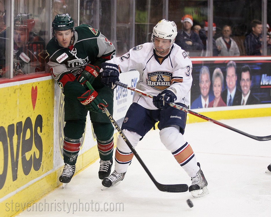 December 17, 2011: The Oklahoma City Barons play the Houston Aeros in an American Hockey League game at the Cox Convention Center in Oklahoma City.