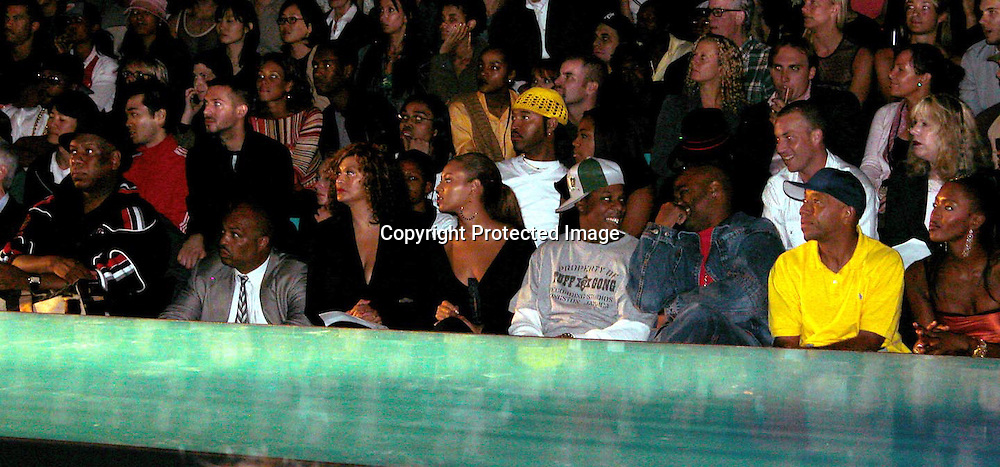Tina &amp; Beyonce Knowles, Jay-Z, Damon Dash, Russell Simmons &amp; Naomi Campbell<br />Baby Phat Fashion Show Front Row &amp; backstage<br />Gertrude Tent, Bryant Park<br />New York City, NY, USA<br />Saturday, September, 13, 2003 <br />Photo By Celebrityvibe.com/Photovibe.com