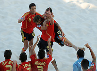 FIFA BEACH SOCCER WORLD CUP 2008 ITALY - SPAIN  26.07.2008 Javier TORRES (r) celebrates with AMARELLE (ESP).