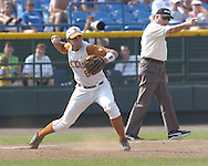 Texas third basemen David Maroul starts a double play in the top of the ninth inning agaisnt Florida.  Texas defeated Florida 6-2 for the National Championship at the College World Series at Rosenblatt Stadium in Omaha, Nebraska on June 26, 2005.