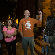 WASHINGTON, DC - OCT11:  Professor Christopher Fee with his students and Bianca Vasquez (right), who works at the Steinbruck Center, outside Luther Place Memorial Church, October 10, 2014, where the students are volunteering at the N Street Shelter located in the church, as well as the D.C. Central Kitchen. The Getttysburg students take a literature of homeless course at Gettysburg which brings them to D.C. to learn first-hand about homelessness. (Photo by Evelyn Hockstein/For The Washington Post)