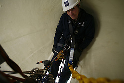 UK ENGLAND GREENFIELD 21MAR12 - Traning scenario at the hub spinner inside a wind turbine at the Capital Safety training facility in Greenfield, Greater Manchester...jre/Photo by Jiri Rezac..© Jiri Rezac 2012